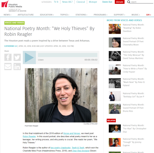 "National Poetry Month ""We Holy Thieves"" By Robin Reagler – Houston Public Media"