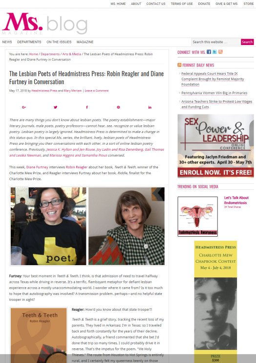 The Lesbian Poets of Headmistress Press Robin Reagler and Diane Furtney in Conversation Ms Magazine Blog